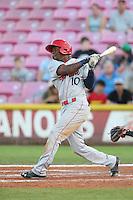 Saquan Johnson #10 of the Spokane Indians bats against the Salem-Keizer Volcanoes at Volcanoes Stadium on July 26, 2014 in Keizer, Oregon. Spokane defeated Salem Keizer, 4-1. (Larry Goren/Four Seam Images)