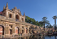 GARDEN OF THE POOL OF MERCURY in the ALCAZAR which was completed in 1577 - SEVILLA.