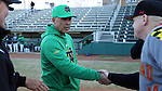 CARY, NC - MARCH 03: Notre Dame head coach Mik Aoki (left) shakes hands with Maryland head coach John Szefc (right). The University of Maryland Terrapins played the University of Notre Dame Fighting Irish on March 3, 2017, at USA Baseball NTC Stadium Field in Cary, NC in a Division I College Baseball game, and part of the Irish Classic tournament. Maryland won the game 4-3.