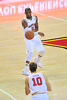 Rasheed Sulaimon of the Terrapins passes the ball to Jake Layman. Maryland defeated Georgetown 75-71 during a game at Xfinity Center in College Park, MD on Wednesday, November 17, 2015.  Alan P. Santos/DC Sports Box