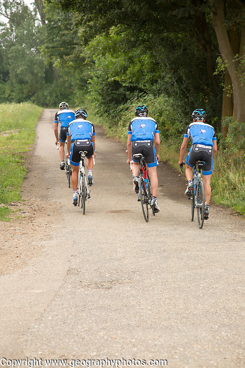 Group of men cycling in countryside, Pietersberg, Maastricht, Limburg province, Netherlands