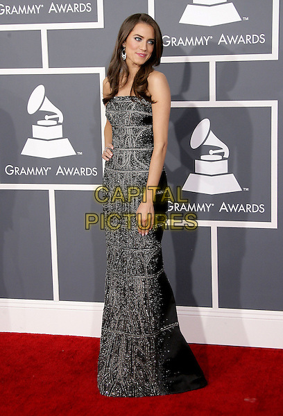 Allison Williams.The 55th Annual GRAMMY Awards held at STAPLES Center, Los Angeles, California, USA..February 10th, 2013.grammys full length black silver sparkly dress  .CAP/ADM.©AdMedia/Capital Pictures.
