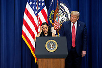Daria Ortiz, the granddaughter of 92 year old Maria Fuertes, who was raped and murdered in New York, delivers remarks to National Border Patrol Council Members in the South Court Auditorium of the White House in Washington D.C., U.S. on Friday, February 14, 2020.<br /> <br /> Credit: Stefani Reynolds / CNP /MediaPunch