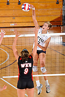 16 October 2010:  FIU outside hitter Una Trkulja (7) hits a kill shot in the first set as the Western Kentucky Hilltoppers defeated the FIU Golden Panthers, 3-2 (25-19, 23-25, 25-20, 25-27, 15-13), at the U.S Century Bank Arena in Miami, Florida.