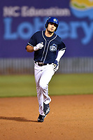 Asheville Tourists right fielder Willie Abreu (6) rounds the bases after hitting a home run during a game against the Greensboro Grasshoppers at McCormick Field on April 27, 2017 in Asheville, North Carolina. The Tourists defeated the Grasshoppers 8-5. (Tony Farlow/Four Seam Images)