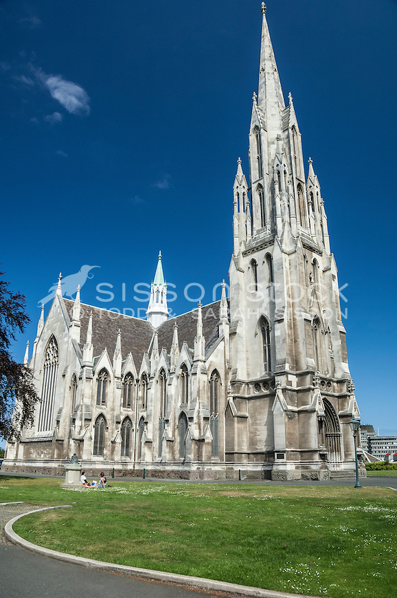 Designed by  R.A Lawson in the Gothic architectural style the First Church of Otago stands prominenty on Moray Place, Dunedin, South Island, New Zealand- stock photo, canvas, fine art print