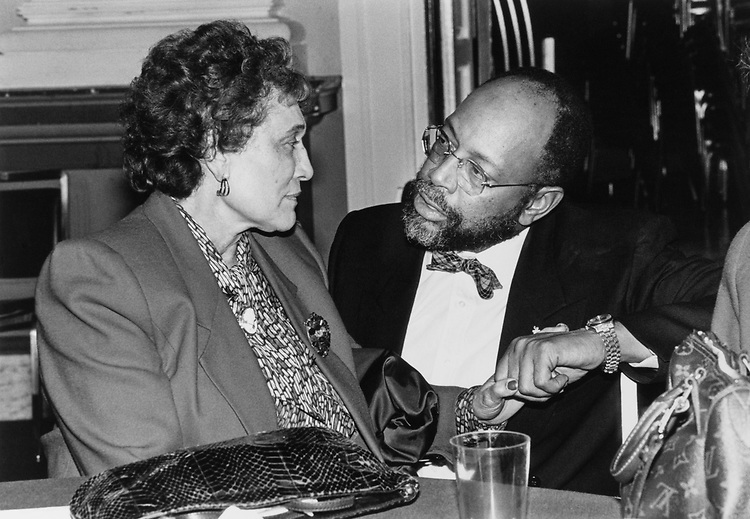 Mrs. Alice Rains, mother of late Rep. Mickey Leland with Rep. Craig Washington, D-Tex., at reception after swear-in, in 1990. (Photo by Maureen Keating/CQ Roll Call)