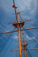 Great Britain, England, London. Portsmouth Historic dockyard. HMS Warrior, mast of the ship.
