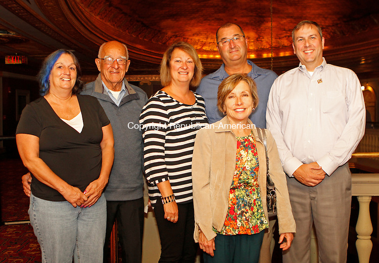 Waterbury, CT092014MK02 (from left) Suzanne Cayer, Maurine Cayer, Lynne Cayer and Ed Cayer with Suzanne and Craig Porter gathered recently to celebrate Headlines and Headliners, a musical revue in celebration of the Palace Theater's tenth anniversary season and long-time media partner WATR Radio 1320AM's eightieth anniversary on the air,. Michael Kabelka / Republican-American