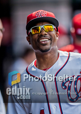 29 June 2017: Washington Nationals Assistant Hitting Coach Jacque Jones smiles in the dugout prior to a game against the Chicago Cubs at Nationals Park in Washington, DC. The Cubs rallied against the Nationals to win 5-4 and split their 4-game series. Mandatory Credit: Ed Wolfstein Photo *** RAW (NEF) Image File Available ***