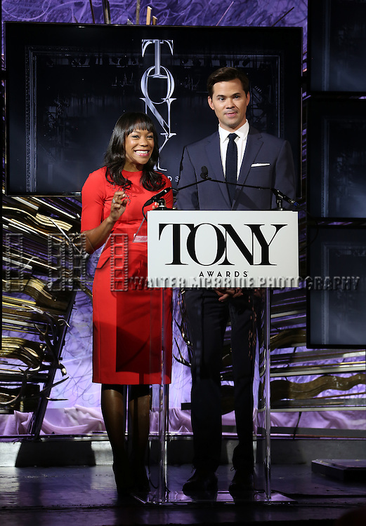 Nikki M. James and Andrew Rannells during the American Theatre Wing's 70th Annual Tony Awards Nominations at Diamond Horseshoe at the Paramount Hotel on May 3, 2016 in New York City.