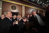 US President George W. Bush (C) leaves the House Chamber after delivering the final State of the Union address of his presidency at the US Capitol in Washington 28 January 2008.           .Credit: Tim Sloan - Pool via CNP