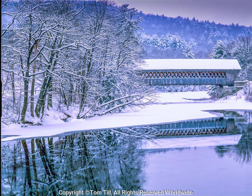 Covered bridge in winter , Hillsborough County, New Hampshire Winter scene in Southern New Hampshire