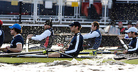 PUTNEY, LONDON, ENGLAND, 05.03.2006,Oxford [right to left]  No.4 Paul Daniels; No.5 James Schroeder. No.6 Barney Williams Pre 2006 Boat Race Fixtures,.   © Peter Spurrier/Intersport-images.com..CUBC, Bow Luke Walton, No. 2 Tom Edwards, No.3 Sebastian Thormann, No 4. Thorsten Englemann, No.5 Sebastian Schulte, No.6 Kieran West, No.7 Tom James, stroke Kip McDaniel and cox Peter Rudge...OUBC, Bow Robin Esjmond-Frey, No.2 Colin Smith, No.3 Jake Wetzel, No.4 Paul Daniels, No.5 James Scroder. No.6 barney Williams, No. 7 Tom Parker, stroke Bastien Ripoll, and cox Nick Brodie,..[Mandatory Credit Peter Spurrier/ Intersport Images] Varsity Boat Race, Rowing Course: River Thames, Championship course, Putney to Mortlake 4.25 Miles