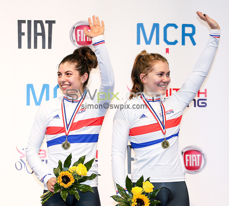 Picture by Alex Whitehead/SWpix.com - 27/09/2014 - Cycling - 2014 British Cycling National Track Championships - Day 4 - National Cycling Centre, Manchester, England - West Midlands' Danielle Khan (L) and Jessica Varnish (R) win Gold in the Women's Team Sprint final.