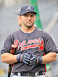24 September 2011: Atlanta Braves infielder Dan Uggla awaits his turn in the batting cage prior to a game against the Washington Nationals at Nationals Park in Washington, DC. The Nationals defeated the Braves 4-1 to even up their 3-game series. Mandatory Credit: Ed Wolfstein Photo