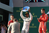 25th March 2018, Melbourne Grand Prix Circuit, Melbourne, Australia; Melbourne Formula One Grand Prix, race day; Mercedes AMG Petronas Motorsport AMG F1 Team; Lewis Hamilton holds up his 2nd place trophy