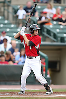 May 2, 2010:  Shortstop Trevor Plouffe (1) of the Rochester Red Wings at bat during a game vs. the Durham Bulls at Frontier Field in Rochester, NY.  Rochester defeated Durham in extra innings by the score of 7-6.  Photo By Mike Janes/Four Seam Images