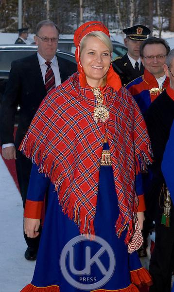 Crown Prince Haakon & Crown Princess Mette Marit of Norway on a two day visit to Finnmark in Norway, visit The Sami Parliament in Karasjok, Finnmark, Northern Norway