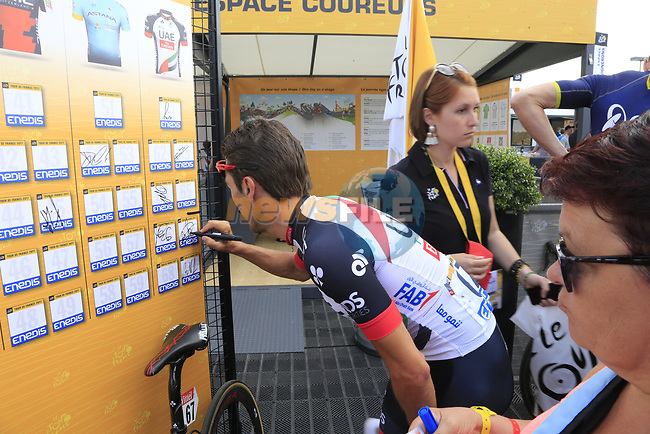 Manuele Mori (ITA) UAE Team Emirates in the Tour Village in Mondorf-les-Bains before the start of Stage 4 of the 104th edition of the Tour de France 2017, running 207.5km from Mondorf-les-Bains, Luxembourg to Vittel, France. 4th July 2017.<br /> Picture: Eoin Clarke | Cyclefile<br /> <br /> <br /> All photos usage must carry mandatory copyright credit (&copy; Cyclefile | Eoin Clarke)