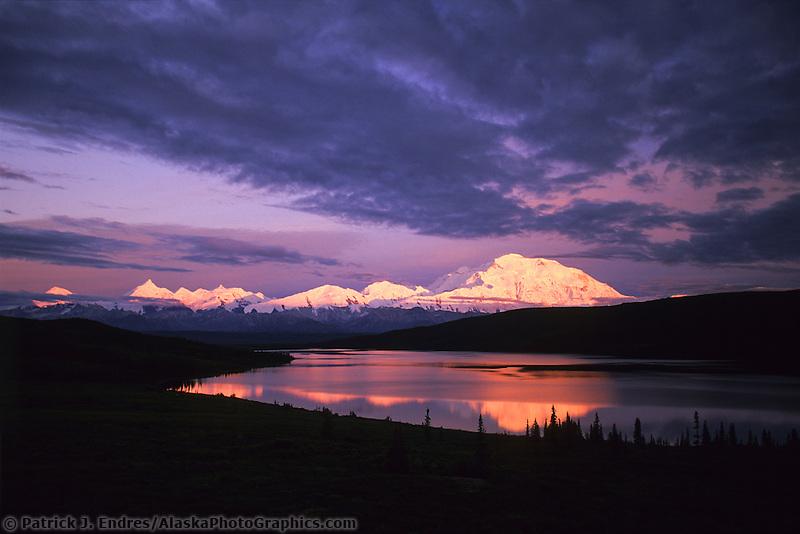 Mt. Denali, Pink Alpenglow On Denali's North Face, Denali National Park, Alaska.