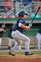 Lowell Spinners Stephen Scott (38) hits a single in his third at bat during a NY-Penn League game against the Batavia Muckdogs on July 10, 2019 at Dwyer Stadium in Batavia, New York.  Batavia defeated Lowell 8-6.  (Mike Janes/Four Seam Images)