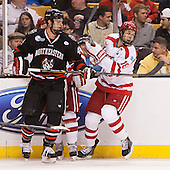 Dax Lauwers (NU - 44), Wade Megan (BU - 18) - The Northeastern University Huskies defeated the Boston University Terriers 3-2 in the opening round of the 2013 Beanpot tournament on Monday, February 4, 2013, at TD Garden in Boston, Massachusetts.