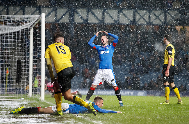 Nicky Clark heads in but the ref pulls play back for a penalty kick as Dean Shiels is fouled
