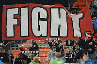 DC United fans showing support at the end of the game.   DC United defeated The Seattle Sounders 2-1, at RFK Stadium, Wednesday  May 4, 2011.