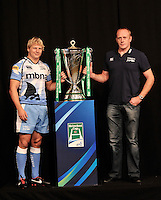 London, England. Sale Sharks Captain Dave Seymour poses with Academy Transition Manager Pete Anglesea and the Heineken Cup during the UK Heineken Cup and Amlin Challenge Cup season launch at SKY Studios on October 1, 2012 in London, England.