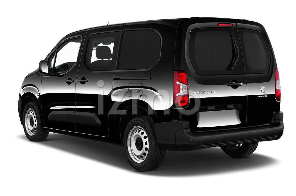 Car pictures of rear three quarter view of a 2020 Peugeot Partner Premium Long 4 Door Car van angular rear