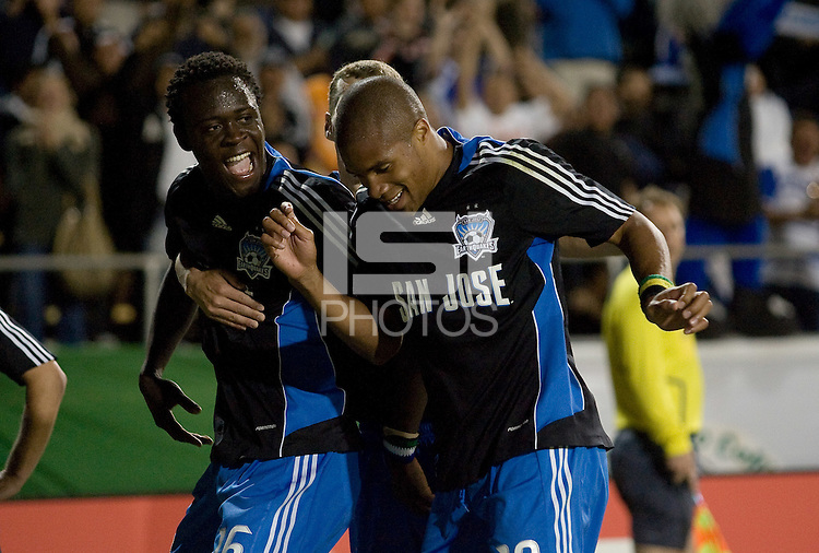 San Jose Earthquakes' Kei Kamara celebrates his goal against the Houston Dynamo with teammate Ryan Johnson, right, at Buck Shaw Stadium in Santa Clara, Calif., Thursday, May 22, 2008. The Earthquakes won 2-1.