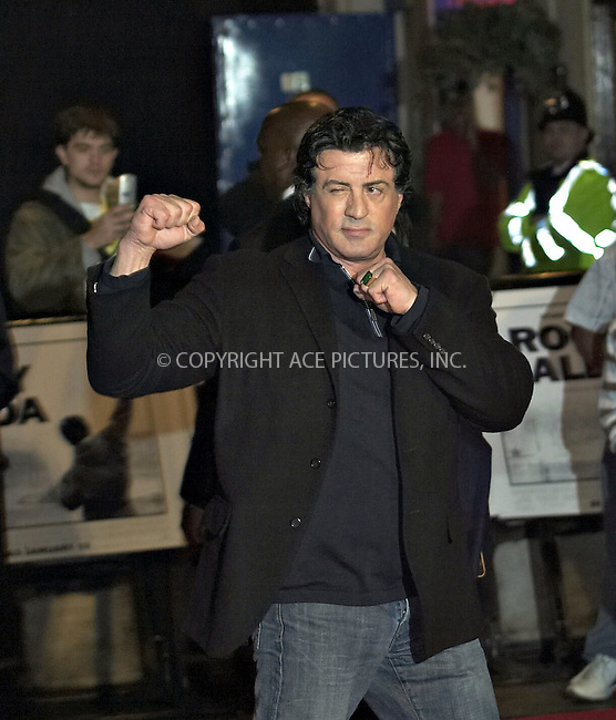 Sylvester Stallone at the uk premiere of 'Rocky Balboa' at Vue West End Cinema, London - 16 January 2007 ..FAMOUS PICTURES AND FEATURES AGENCY 13 HARWOOD ROAD LONDON SW6 4QP UNITED KINGDOM tel +44 (0) 20 7731 9333 fax +44 (0) 20 7731 9330 e-mail info@famous.uk.com www.famous.uk.com .FAM19404