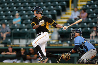 Bradenton Marauders outfielder Justin Maffei (26) at bat during a game against the Charlotte Stone Crabs on April 22, 2015 at McKechnie Field in Bradenton, Florida.  Bradenton defeated Charlotte 7-6.  (Mike Janes/Four Seam Images)