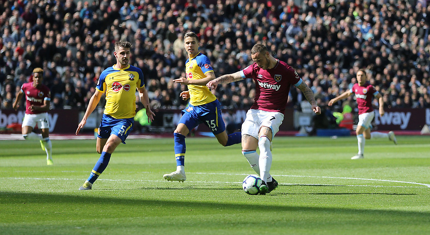 West Ham United's Marko Arnautovic scores his side's first goal  <br /> <br /> Photographer Rob Newell/CameraSport<br /> <br /> The Premier League - West Ham United v Southampton - Saturday 4th May 2019 - London Stadium - London<br /> <br /> World Copyright © 2019 CameraSport. All rights reserved. 43 Linden Ave. Countesthorpe. Leicester. England. LE8 5PG - Tel: +44 (0) 116 277 4147 - admin@camerasport.com - www.camerasport.com