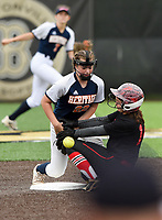 NWA Democrat-Gazette/CHARLIE KAIJO Northside High School Hannah Entrekin (14) slides to second as Rogers Heritage High School Sydney Price (22) attempts to tag during the 6A State Softball Tournament, Thursday, May 9, 2019 at Tiger Athletic Complex at Bentonville High School in Bentonville. Rogers Heritage High School lost to Northside High School 8-6