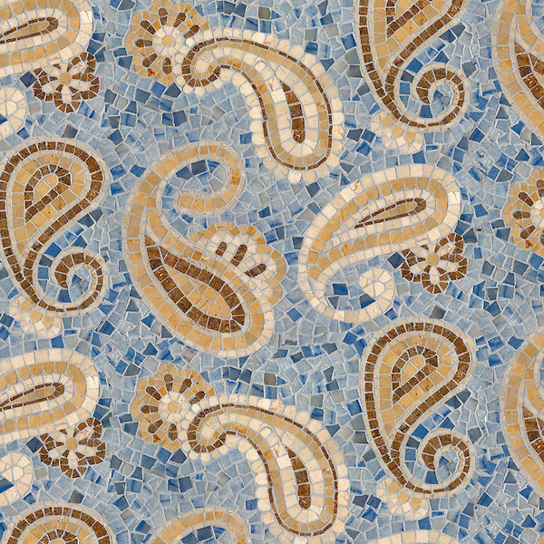Paisley, a hand-cut stone mosaic, shown in polished Blue Macauba, Travertine Noce, Crema Marfil, and Renaissance Bronze.