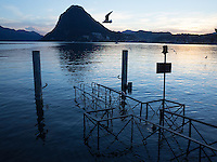 Switzerland. Canton Ticino. Lugano. Flooding on the lake. Jetty and birds. 26.11.14 © 2014 Didier Ruef