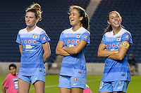 Chicago, IL - Saturday July 30, 2016: Arin Gilliland, Jennifer Hoy, Vanessa DiBernardo after a regular season National Women's Soccer League (NWSL) match between the Chicago Red Stars and FC Kansas City at Toyota Park.