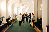 WARSAW, POLAND, December 21, 2016<br /> Polish  members of parliament from opposition parties PO (Civic Platform) and Nowoczesna (Modern) are walking in the corridor leading to plenary hall of the Sejm (Polish parliament), which they have been occupying for the last six days, since 16-th december. The sign says &quot;#free media&quot;.<br /> The opposition objects to government plans to drastically limit the number of journalists allowed to cover parliamentary proceedings. The opposition MPs' protest delayed a budget 2017 vote, which was later held away from the main parliament chamber and is now considered unlawful, which sparks further protest.<br /> (Photo by Piotr Malecki / Napo Images)<br /> ****<br /> WARSZAWA, 21.12.2016. <br /> Poslowie opozycji z partii PO i Nowoczesna w kuluarach przy sali plenarnej ktorych nie opuszczaja od szesciu dni. Jest to dzialanie w obronie wolnosci mediow i przeciwko uchwaleniu budzetu przez partie rzadzaca w innej sali, bez obecnosci poslow opozycji. <br />  Izabela Leszczyna (PO), Joanna Augustynowska (Nowoczesna), w lewym oknie - Gabriela Lenartowicz (PO), Maria Malgorzata Janyska (PO), Arkadiusz Marchewka (PO), Andrzej Halicki (PO), <br /> Fot. Piotr Malecki / Napo Images<br /> <br /> ###ZDJECIE MOZE BYC UZYTE W KONTEKSCIE NIEOBRAZAJACYM OSOB PRZEDSTAWIONYCH NA FOTOGRAFII### ### Cena zdjecia w/g cennika FORUM plus 50% (cena minimalna 100 PLN)
