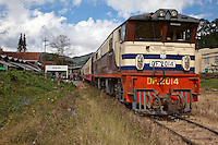 Myanmar, Burma.  Diesel Locomotive in Kalaw Train Station.