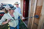 The Busi family and friends use hot irons to christen and brand the new pump shed at their corrals near Jackson, California.<br /> <br /> Colett Busi brands with the Circle-B mark as Seth Seever watches