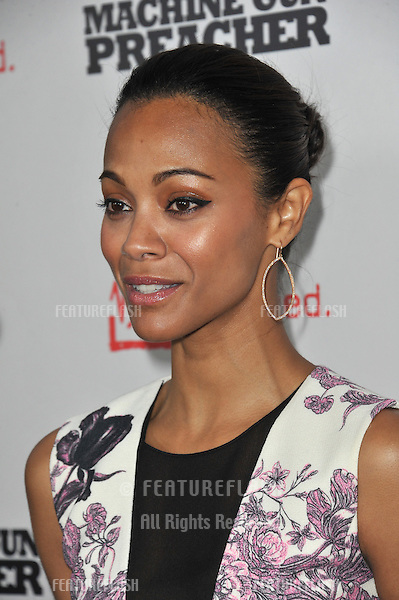 "Zoe Saldana at the Los Angeles premiere of ""Machine Gun Preacher"" at the Academy of Motion Picture Arts & Sciences Theatre, Beverly Hills..September 21, 2011  Los Angeles, CA.Picture: Paul Smith / Featureflash"