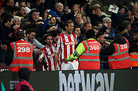 Peter Crouch of Stoke City celebrates scoring the opening goal during West Ham United vs Stoke City, Premier League Football at The London Stadium on 16th April 2018