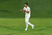 3rd December 2017, Adelaide Oval, Adelaide, Australia; The Ashes Series, Second Test, Day 2, Australia versus England; Mitchell Stark celebrates the LBW wicket of Mark Stoneman for 18