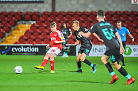 Fleetwood Town's midfielder Barry Baggley (30) closed down by Liverpools midfielder Jake Cain (90) during the The Leasing.com Trophy match between Fleetwood Town and Liverpool U21 at Highbury Stadium, Fleetwood, England on 25 September 2019. Photo by Stephen Buckley / PRiME Media Images.