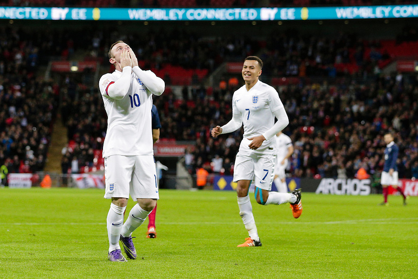 England&rsquo;s Wayne Rooney celebrates scoring his sides second goal <br /> <br /> Photographer Craig Mercer/CameraSport<br /> <br /> Football International - England v France - Tuesday 17th November 2015 - Wembley Stadium - London<br /> <br /> &copy; CameraSport - 43 Linden Ave. Countesthorpe. Leicester. England. LE8 5PG - Tel: +44 (0) 116 277 4147 - admin@camerasport.com - www.camerasport.com
