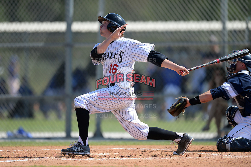 Edgewood Eagles Jeff Tucker (16) during the second game of a doubleheader against the UW-Stout Blue Devils on March 16, 2015 at Lee County Player Development Complex in Fort Myers, Florida.  UW-Stout defeated Edgewood 8-2.  (Mike Janes/Four Seam Images)