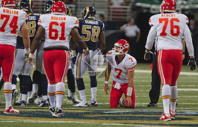 Kansas City Chiefs QB Matt Cassel is slow to get up after being sacked in the second quarter.