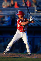 Batavia Muckdogs outfielder Kyle Barrett (21) at bat during a game against the Mahoning Valley Scrappers on June 23, 2015 at Dwyer Stadium in Batavia, New York.  Mahoning Valley defeated Batavia 11-2.  (Mike Janes/Four Seam Images)